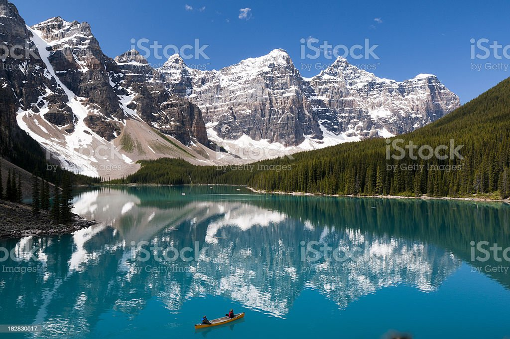 Scenic view of Moraine Lake on a summer day royalty-free stock photo