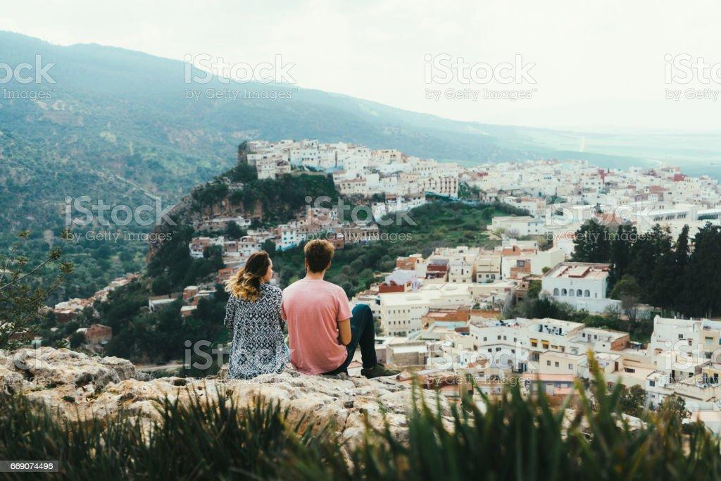 Scenic view of Moulay Idriss Zerhoun stock photo