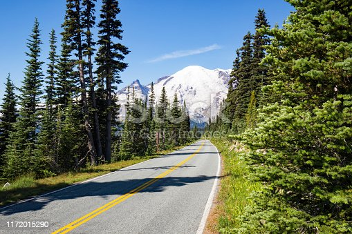 Scenic view of Mount Rainier with a road in front of it in summer