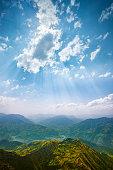 Beautiful scenic view of Himalayas mountain.Shoot location Chail, Himachal Pradesh, India.