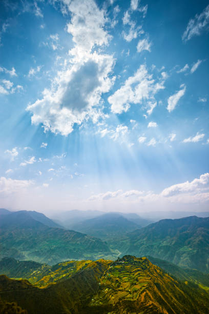 Scenic view of mountain horizon. stock photo