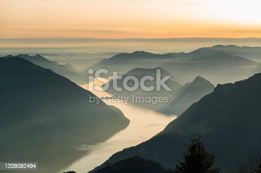 Winter morning sunrise over mountain scene