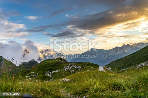 Scenic view of mountain range during sunset