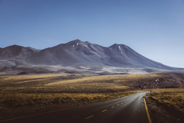 Scenic view of mountain road in Atacama desert stock photo