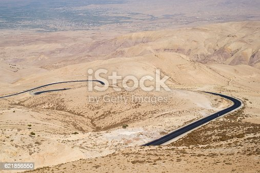 View from above of a winding road through the Jordan Rift Valley