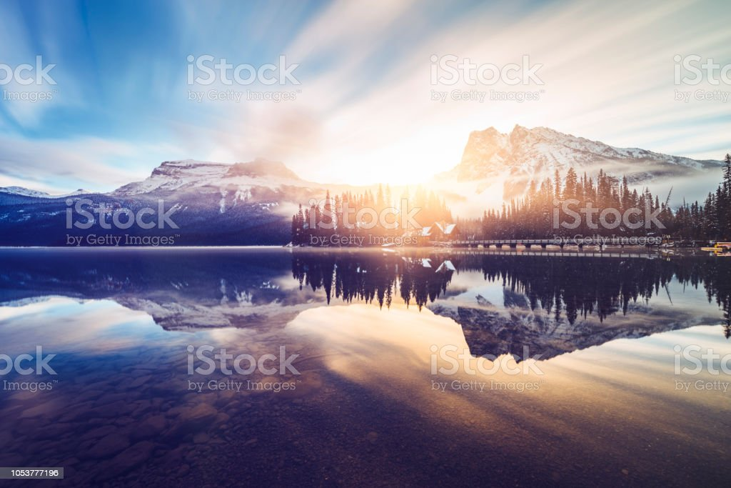 Scenic view of mountains at Emerald Lake photo taken in Yoho National Park, British Columbia, Canada. Beauty In Nature Stock Photo