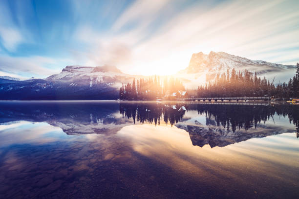 Scenic view of mountains at Emerald Lake photo taken in Yoho National Park, British Columbia, Canada. british columbia stock pictures, royalty-free photos & images