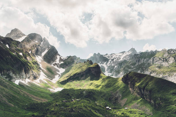 Scenic view of mountains in Switzerland Scenic view of mountains in Appenzell,  Swiss Alps switzerland stock pictures, royalty-free photos & images
