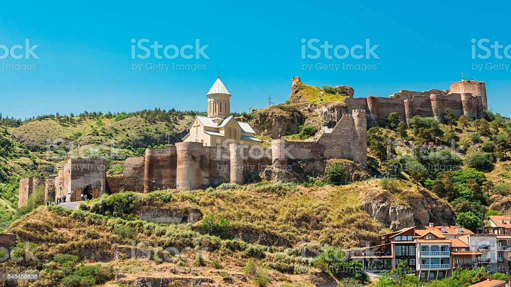 Scenic View Of Narikala Fortress And Bethlehem Church In Tbilisi stock photo