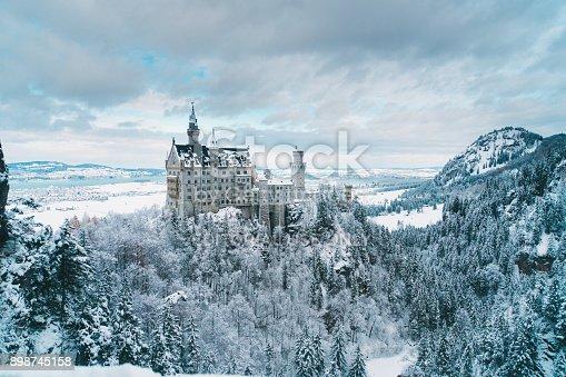 Scenic view of  Neuschwanstein castle in Germany   in winter  Schwangau, Germany - November 29, 2017
