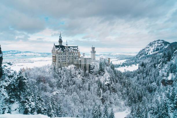malerische aussicht auf das schloss neuschwanstein in deutschland - regierungsbezirk schwaben stock-fotos und bilder