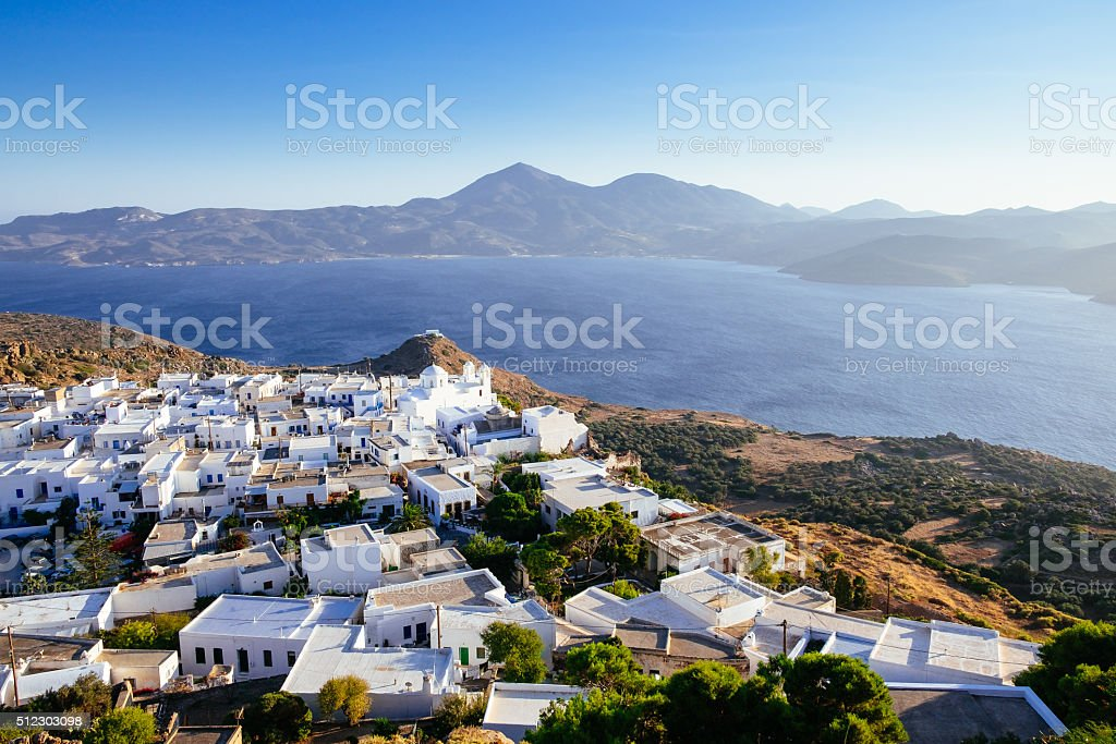 Scenic view of ocean and traditional Greek village Plaka, Greece stock photo