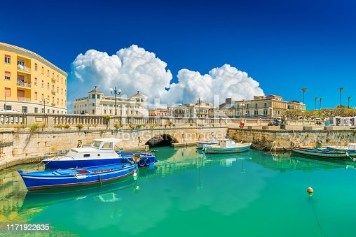 Scenic view of Ortygia (Ortigia), Syracuse, Italy. Cityscape of the famous historical place on Sicily.