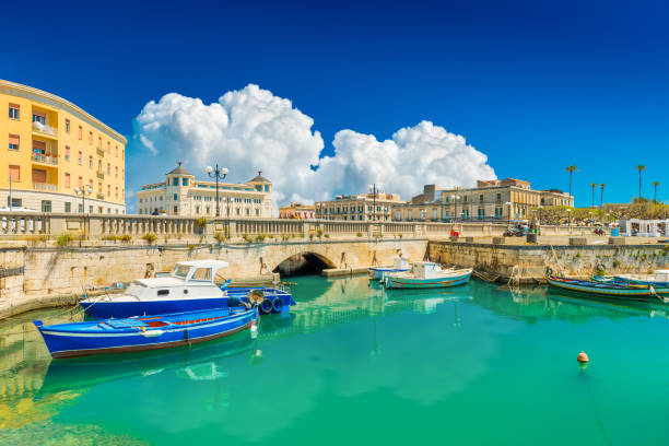 Scenic view of Ortygia (Ortigia), Syracuse, Italy. Cityscape of the famous historical place on Sicily stock photo