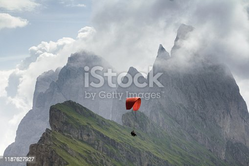 Mountain peak and lofty clouds behind