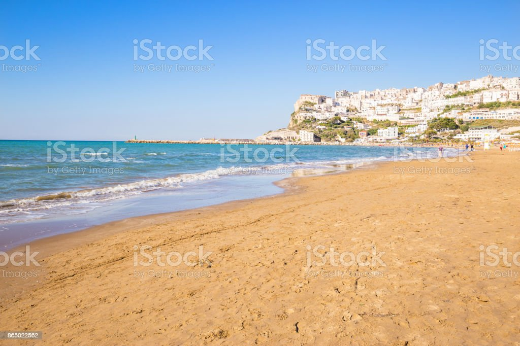Apulia, Italy -  May 28 - 2017. A scenic view of Peschici, small fishing town in the beautiful region. stock photo