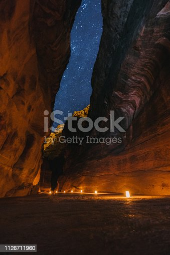 Scenic view of candels in  Petra by night