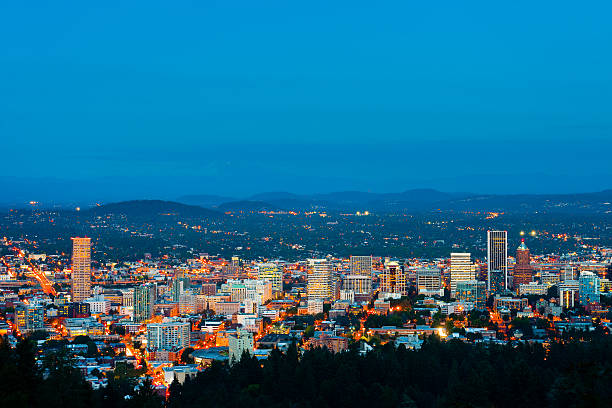A scenic view of Portland, Oregon under the night sky stock photo