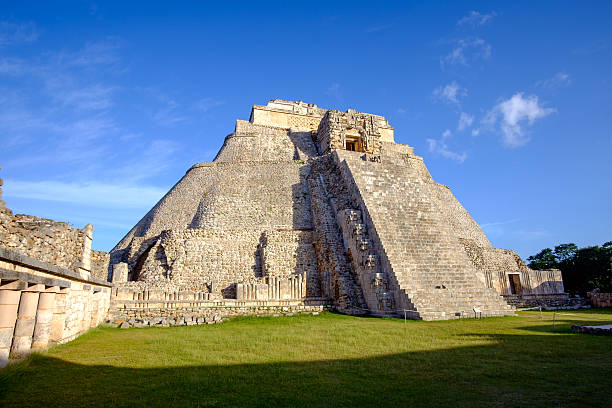 Scenic view of prehistoric Mayan pyramid in Uxmal stock photo