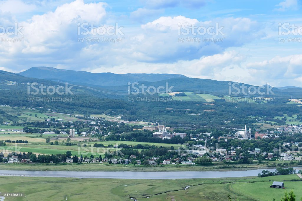 scenic view of Quebec village of St Paul Bay stock photo