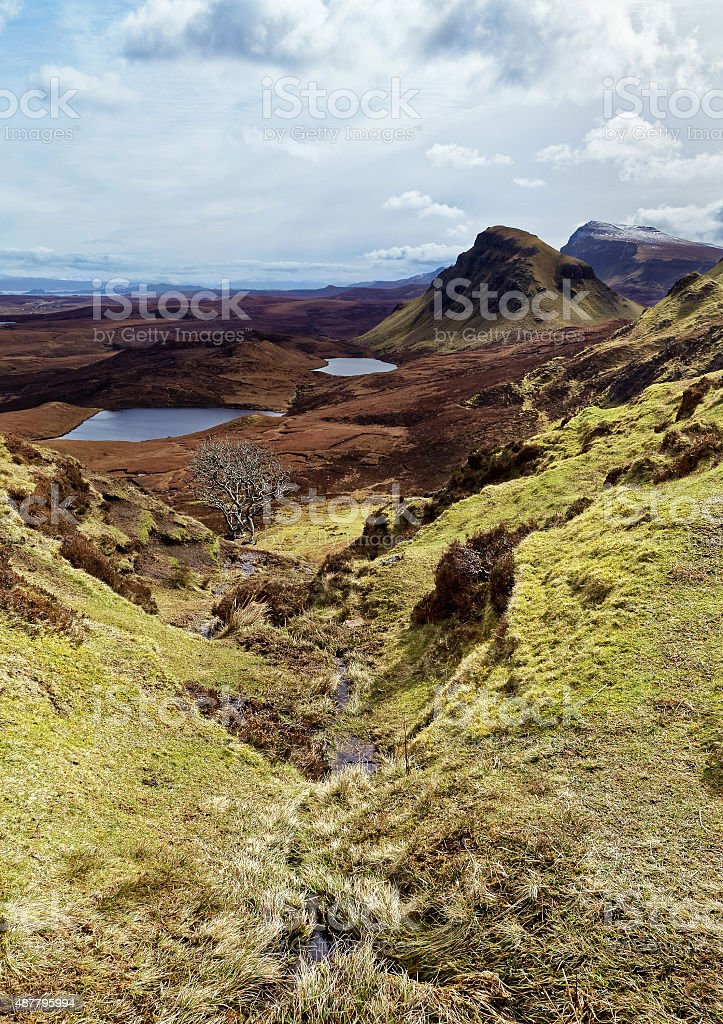 Scenic view of Quiraing mountains stock photo