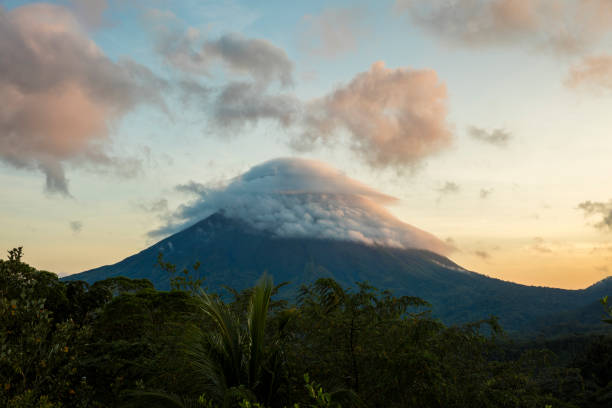 Scenic view of rainforest by Arenal Volcano stock photo