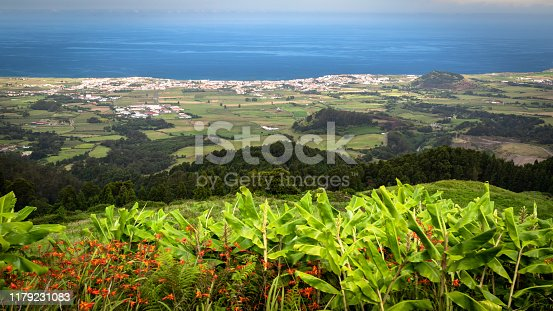 Scenic view of Ribeira Grande - the second biggest town in Sao Miguel island, Azores, Portugal, seen from Bela Vista viewpoint.