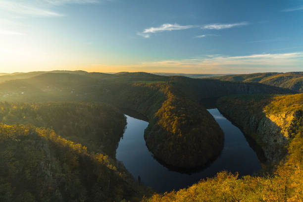 Scenic view of river in forest in Czech Republic stock photo