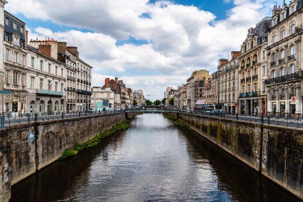 Scenic view of River Vilaine in Rennes stock photo