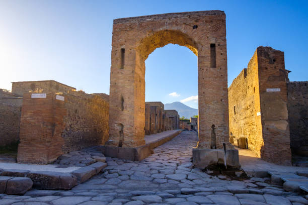 Scenic view of ruins at city of Pompeii with Vesuvio background stock photo