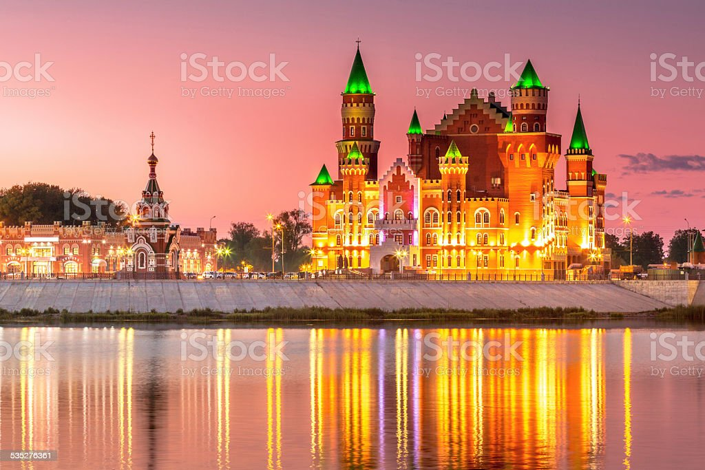 Scenic view of Russian town at night stock photo
