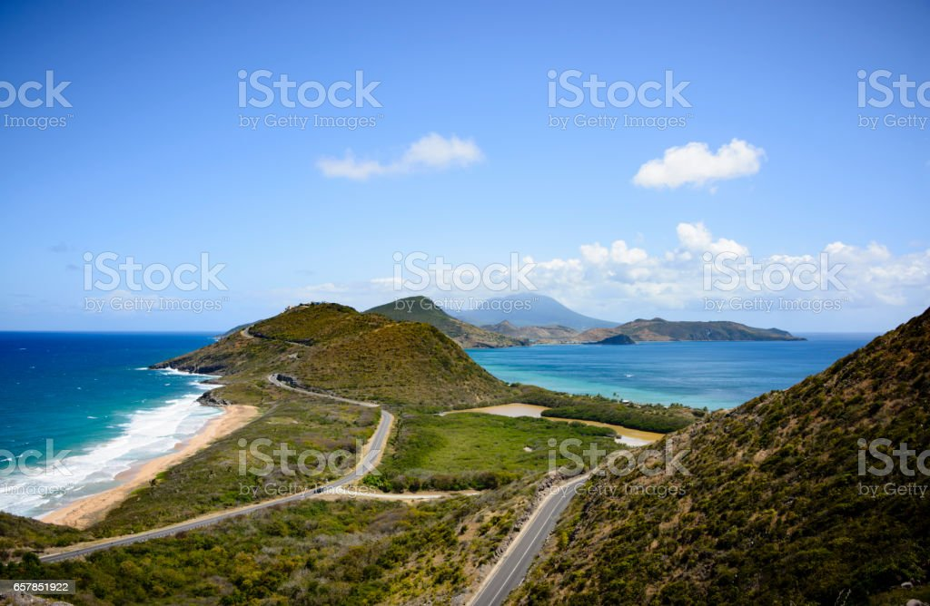 Scenic view of Saint Kitts with Atlantic Ocean and Caribbean Sea and the Island of Nevis stock photo