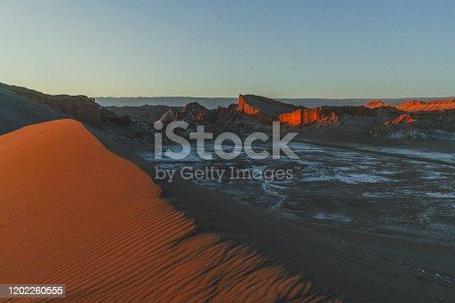 Scenic view of Salar de Atacama in desert in Chile, Valle de la Luna