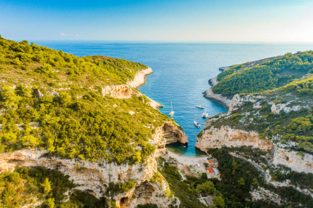 Scenic view of seacoast,Vis Island, Stiniva Beach, Croatia stock photo