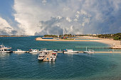 Scenic view of Seascape and Cloudscape at Jumeirah Beach, Dubai, United Arab Emirates