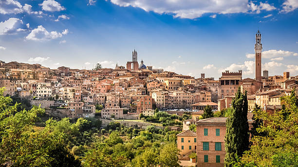 Scenic view of Siena town and historical houses stock photo