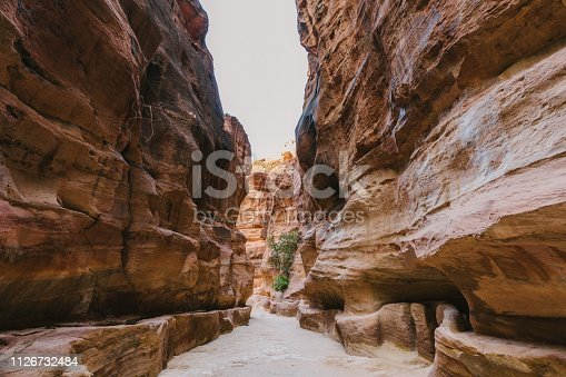 Scenic view of  Siq canyon in Petra, Jordan
