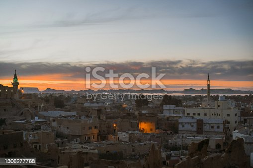 Scenic view of Siwa oasis at sunset