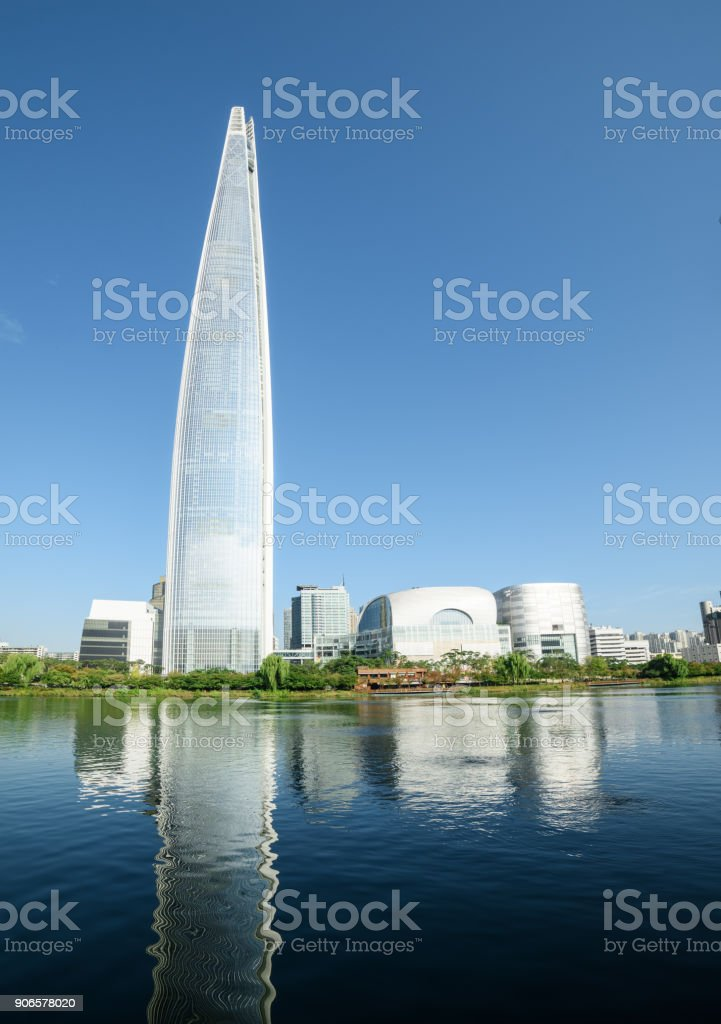 Scenic view of skyscraper and other modern buildings of Seoul stock photo
