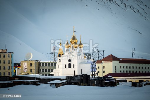 istock Scenic view of snowy mountain town 1222474403