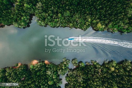 Scenic view of speedboat from above near the mangrove forest in Phang Nga, Thailand