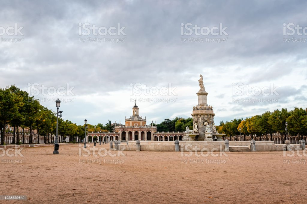 Scenic view of Square and church in Aranjuez stock photo