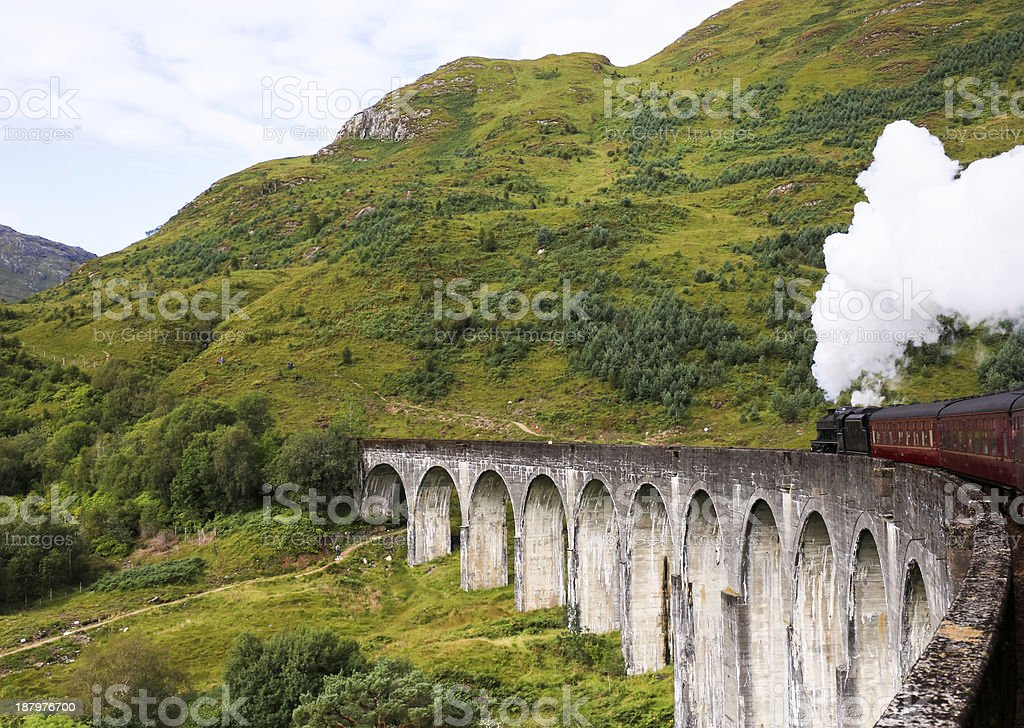 Scenic view of steam train in the mountains stock photo