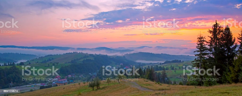 Scenic view of sunrise mountains at Carpathian, Ukraine. royalty-free stock photo
