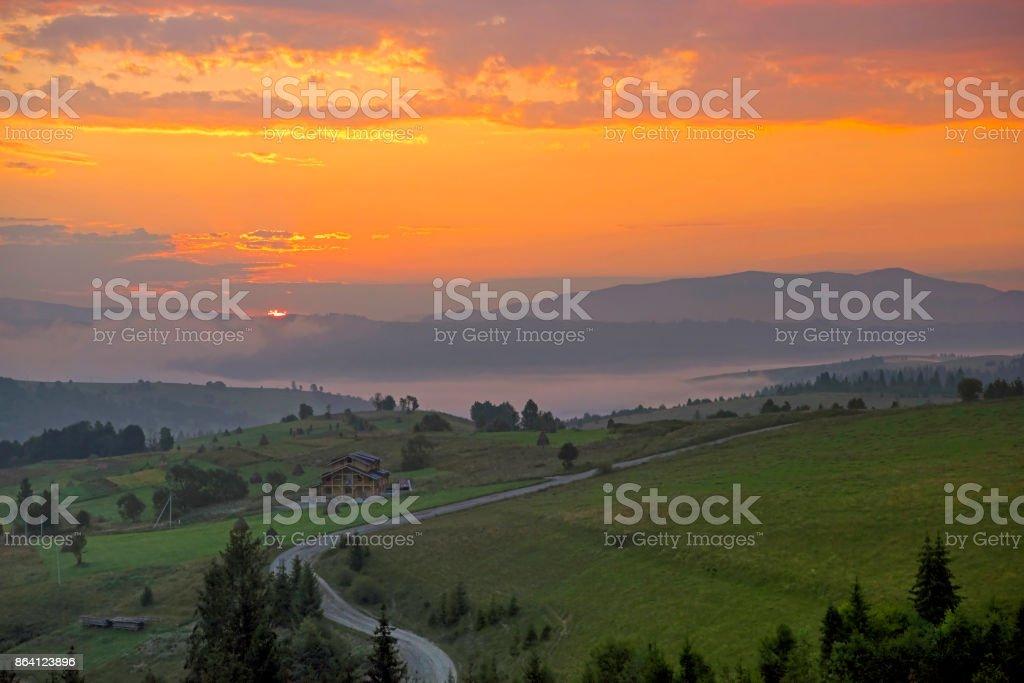 Scenic view of sunrise mountains at Carpathian, Ukraine. royalty-free stock photo
