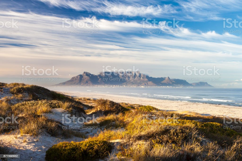 scenic view of table mountain cape town south africa from bloubergstrand stock photo