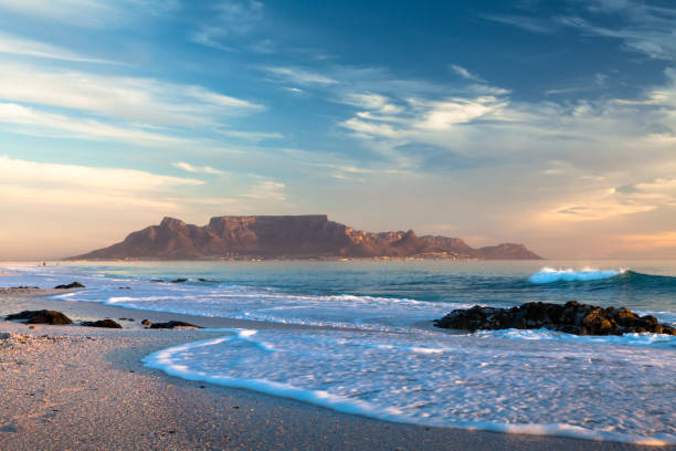scenic view of table mountain cape town south africa from bloubergstrand - table mountain south africa stock pictures, royalty-free photos & images