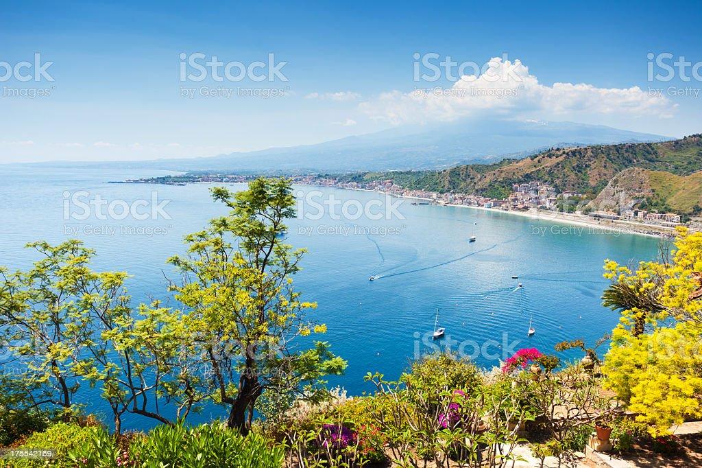 Scenic view of Taormina coastline in Sicily stock photo