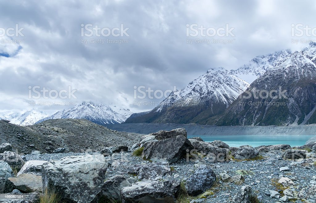 Scenic view of Tasman Glacier under threatening storm clouds stock photo