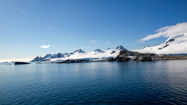 Scenic view of the Antarctic peninsula stock photo